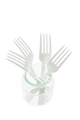 Plastic Forks in Glass Jar