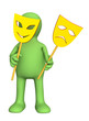 3d puppet with two yellow masks in hands stock photography.