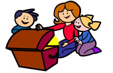 Vector cartoon Mom and Kids opening Treasure Chest