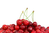 Pile of the red cherries with and without stalks poster