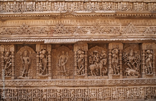 poster of Ancient Hindu Carvings on a Step-Well in Gujarat, India