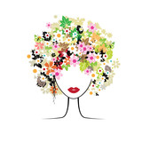Face woman, floral hairstyle poster
