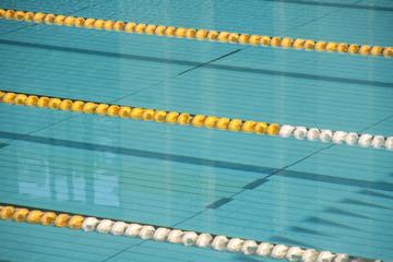 Empty lanes in a swimming pool