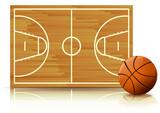 Terrain et ballon de basketball (reflet paysage) poster