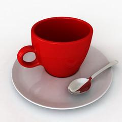 Una tazzina di caffè rossa e bianca