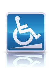Panneau rampe d'accès pour handicapés (reflet métal)