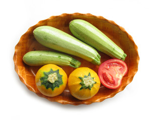 Pumpkins, zuchinni and tomato