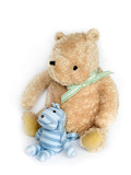 Soft toys in the nursery on white background (not isolated) poster