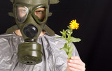 Woman in gas mask. Ecology and pollution concept. poster