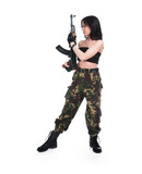 The beautiful girl with a  automatic rifle poster