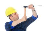 Gentle screwdriver hammering poster
