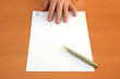 Hand, pen and blank document