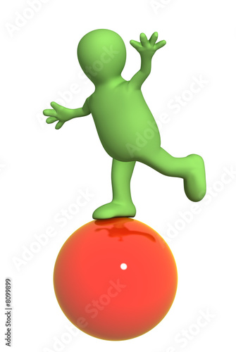 3d puppet, balancing on a red ball