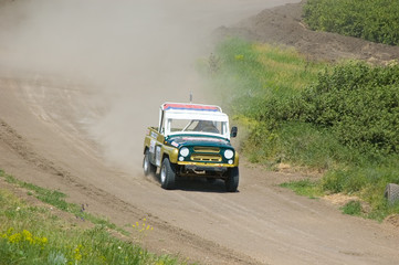 Off-road car on race