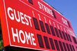 Red Baseball Scoreboard. Cropped. Low View/Angle.