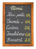 Italian restaurant menu chalkboard cutout poster