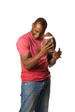 Man holding football with intense grip on ball On-White poster