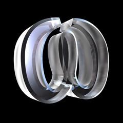Omega symbol in glass (3d)