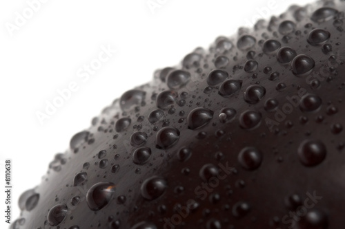 water drops on aubergine's surface