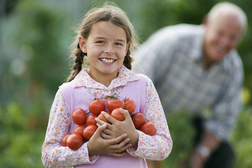 Girl (8-10) carrying bunch of tomatoes, smiling, portrait, grandfather working in vegetable garden