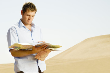 A man reading a map