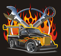 Vector detailed illustration hot rod