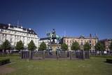 Copenhagen Town Square with Equestrian Statue. poster