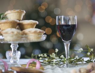Mince pies and red wine