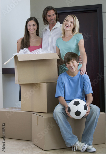 A family moving into a new home