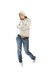 The young hip-hop girl isolated on a white