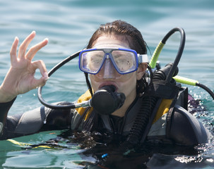 A woman scuba diving