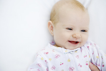 A baby laughing