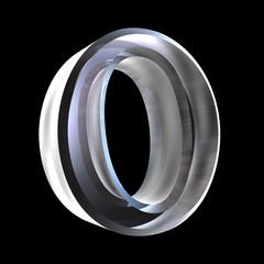 omicron symbol in glass (3d)