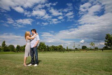 couple in a beautiful field