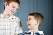 Older and younger boy laughing together