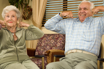 Residents in a retirement home exercising