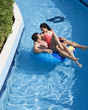 A couple having fun in a waterpark
