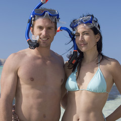 A couple snorkeling