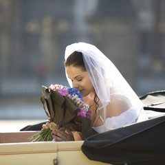 A bride arriving for her wedding