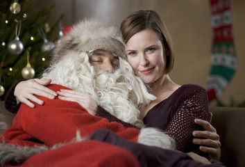 Father Christmas/Santa Claus and a woman relaxing