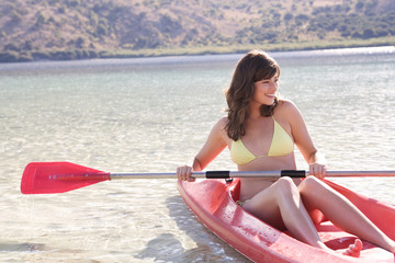A woman in a kayak