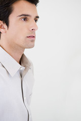 Side profile portrait of a businessman in casual dress