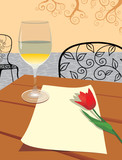 romantic letter with glass wine