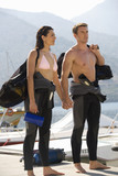 A couple going scuba diving on holiday