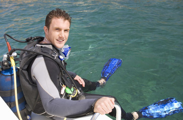 A man about to go scuba diving