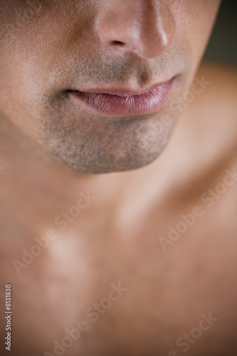 Close up of a young man's jaw line