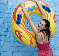 A woman having fun in a waterpark