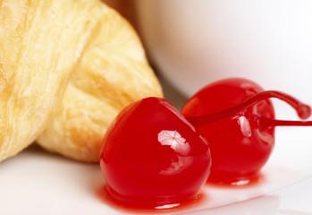 Macro shot of glaze cherries