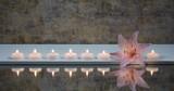 Fototapety Rosa Lilienblüte mit  Kerzen und Spiegelung
