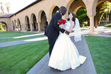 Attractive Interracial Wedding Couple at Church poster